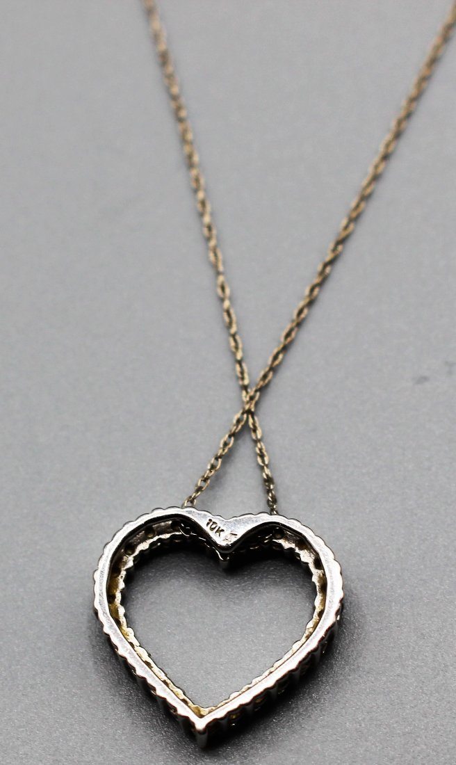 10 K WHITE GOLD DIAMOND HEART PENDANT NECKLACE - 3