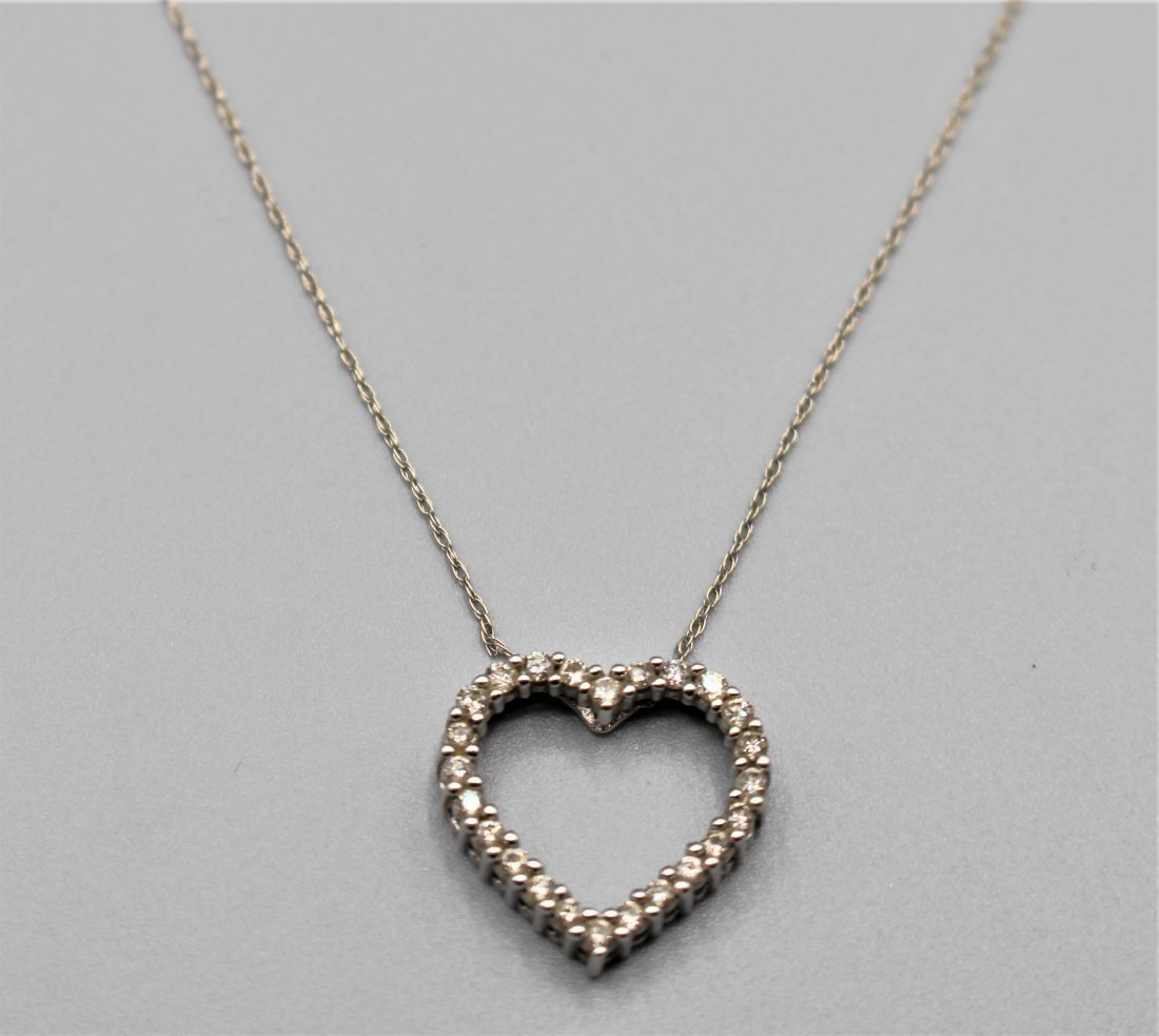 10 K WHITE GOLD DIAMOND HEART PENDANT NECKLACE - 5