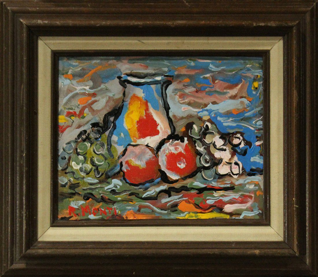 R MONTI, Mid-Century STILL LIFE PITCHER And FRUIT Oil/C