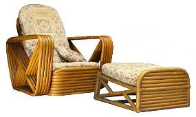 PAUL FRANKL Style WIDE BAMBOO LOUNGE CHAIR  OTTOMAN