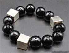 Israel Sterling Cubes & Black Glass Balls Bracelet