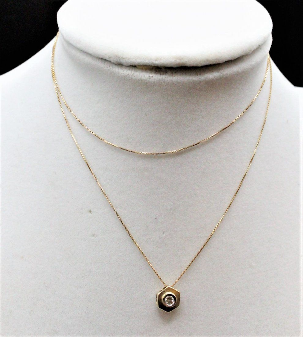 14 K Yellow Gold And Diamond Pendant Necklace; 14 K