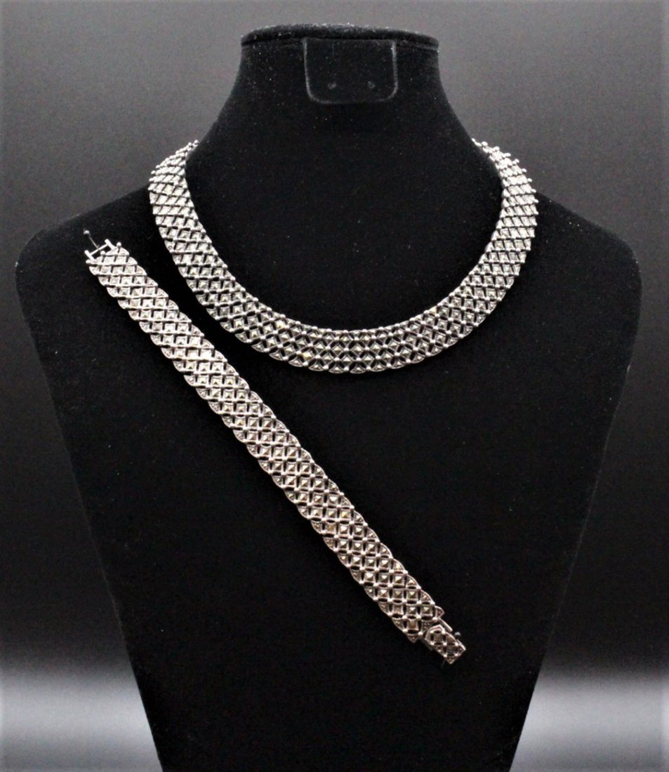 1920's 30s Sterling and Marcasite Necklace Bracelet Set