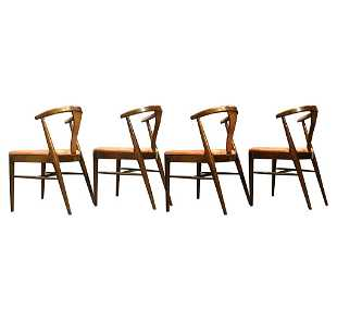 Four 4 Hans Wegner Style Curved Back Dining Chairs