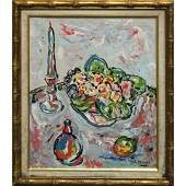 R. Monti, Mid-Century Table Top Still Life Bowl Fruit