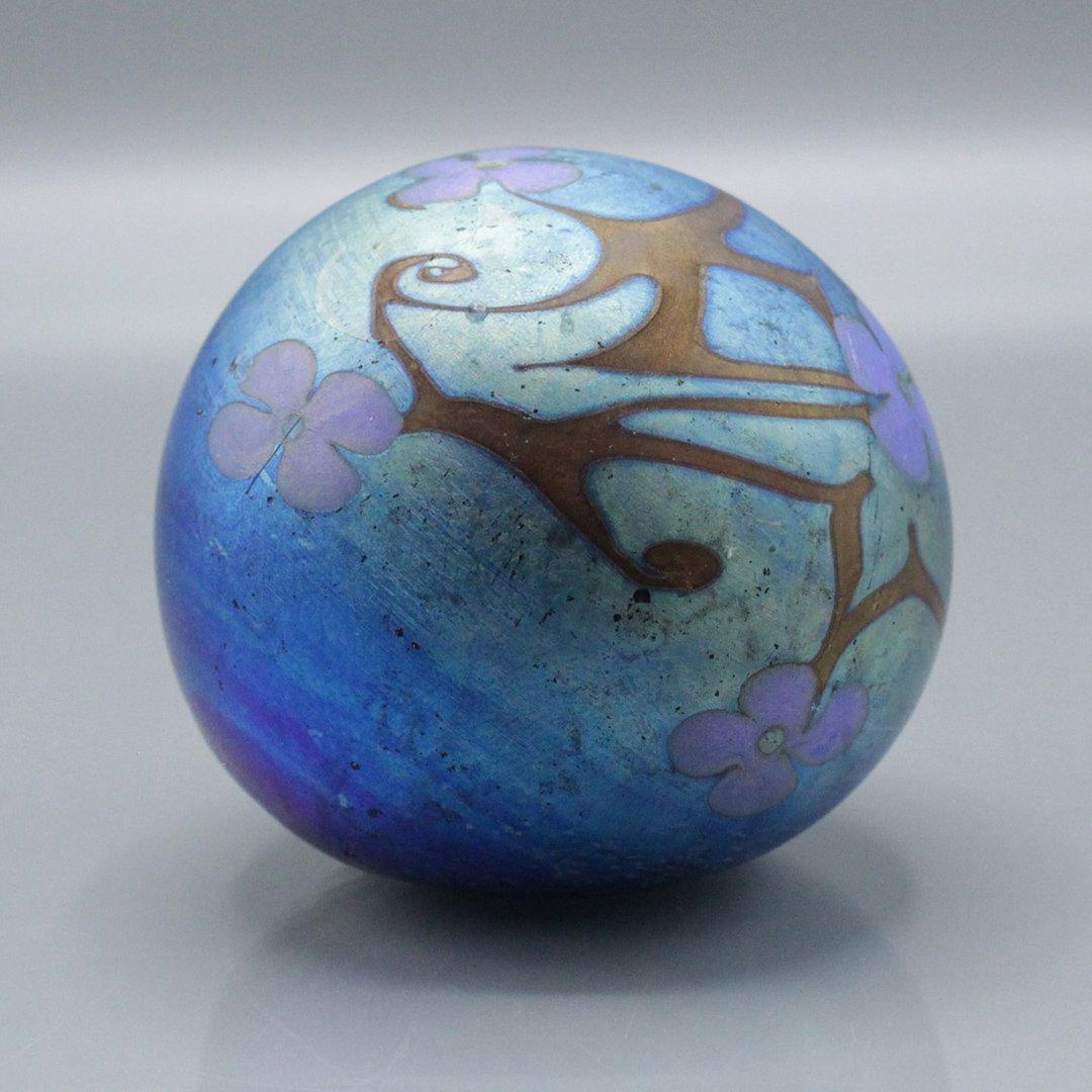 Blue Aurene Art Glass Paperweight w/ Floral Decoration