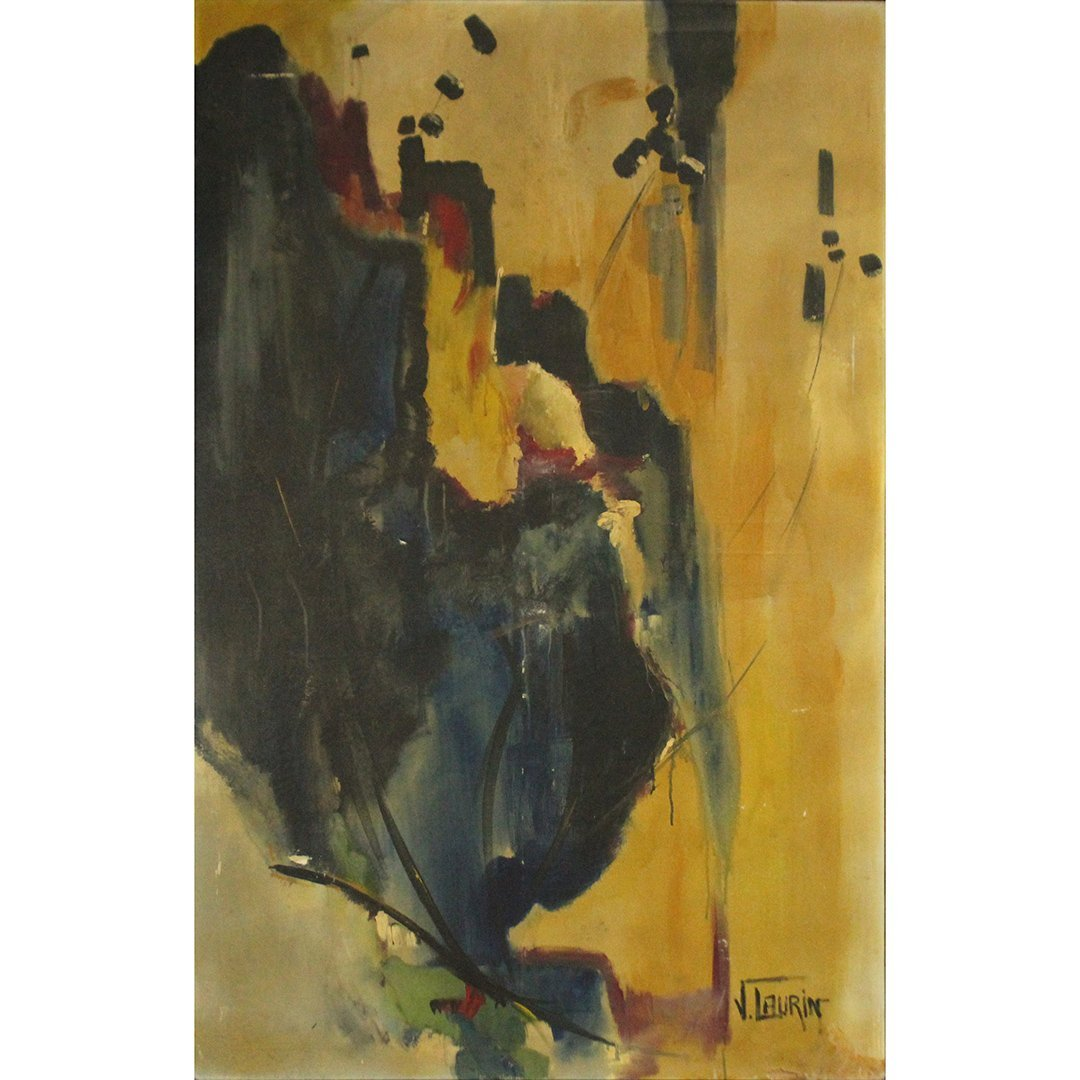 J. Laurin, Large Oil/c Abstract Expressionism, Signed