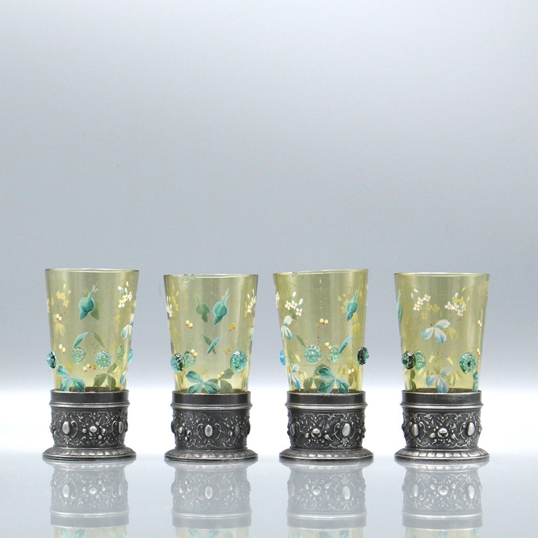Four Moser Enameled Glass Tumblers Silverplate Bases