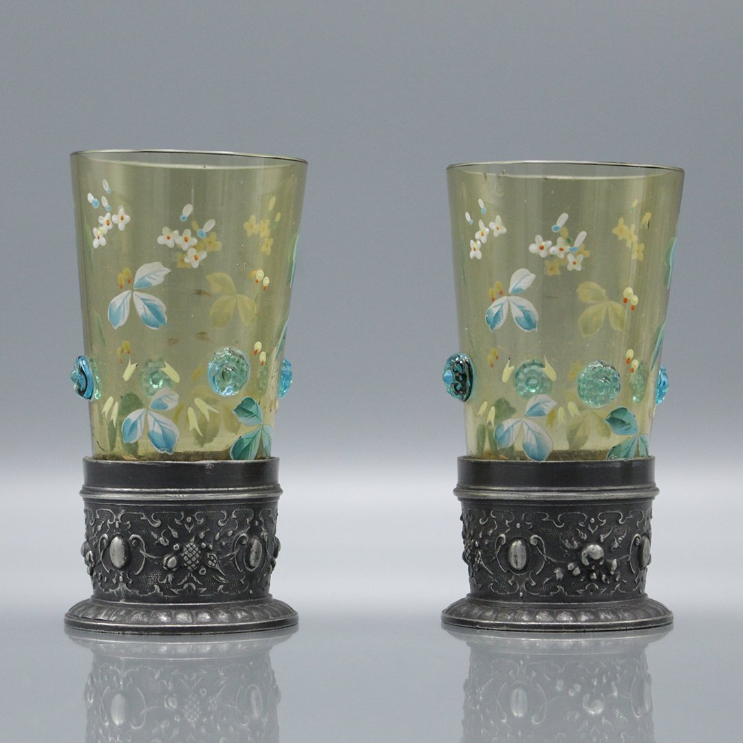 Four Moser Enameled Glass Tumblers Silverplate Bases - 2