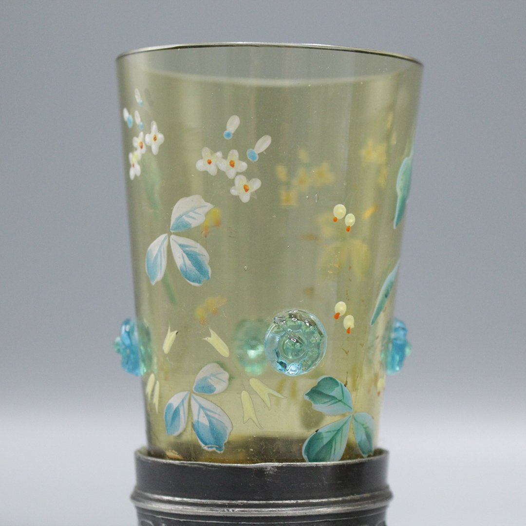 Four Moser Enameled Glass Tumblers Silverplate Bases - 4