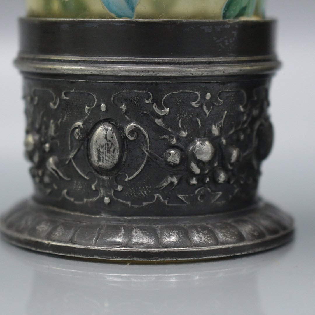 Four Moser Enameled Glass Tumblers Silverplate Bases - 8
