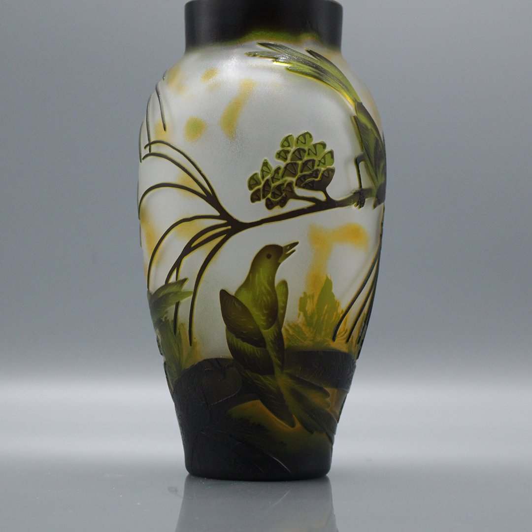 Cameo Glass 3-Color Art Glass Vase Birds on Branches - 2