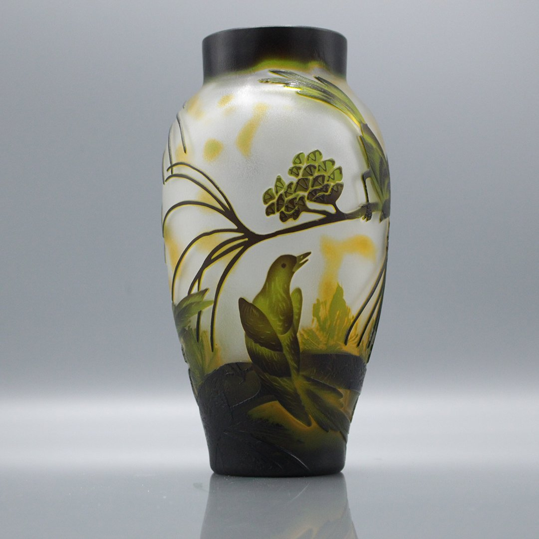Cameo Glass 3-Color Art Glass Vase Birds on Branches - 3