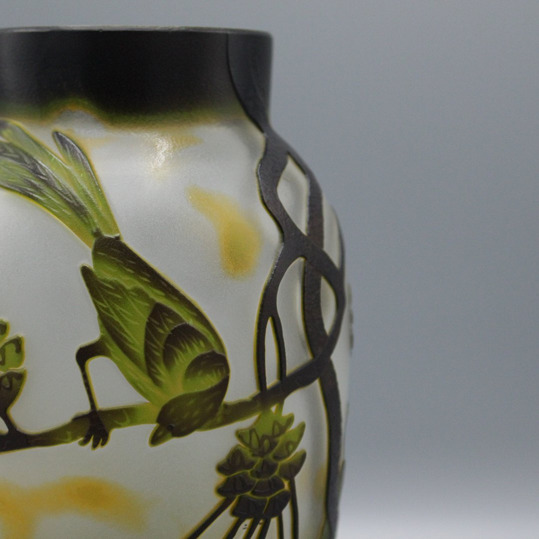 Cameo Glass 3-Color Art Glass Vase Birds on Branches - 4