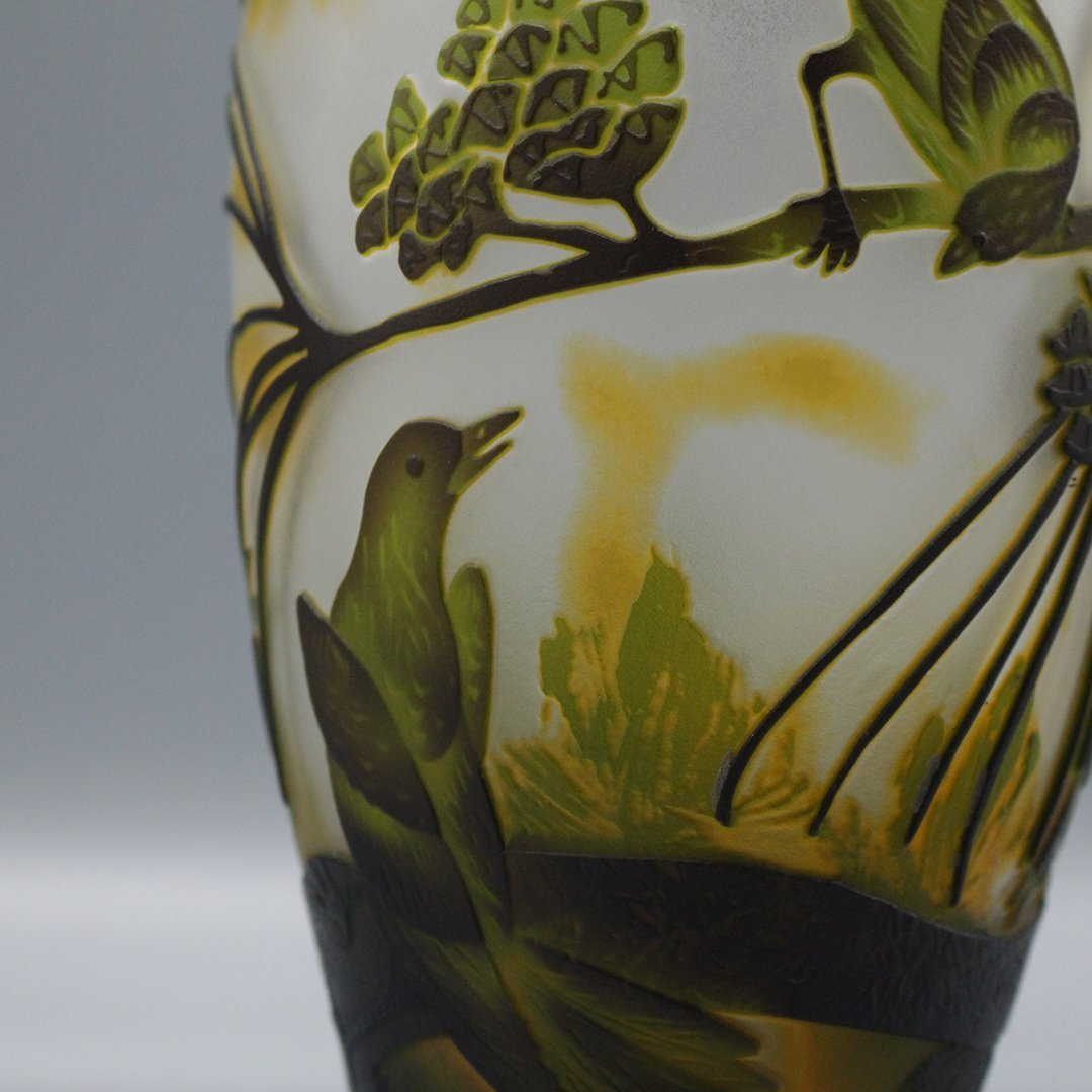 Cameo Glass 3-Color Art Glass Vase Birds on Branches - 5