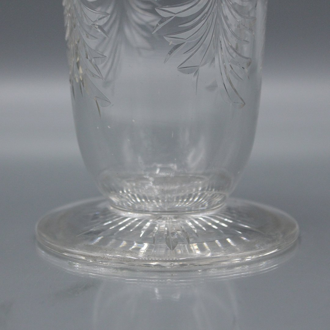 Sinclair Glass Tall Vase Clear with Cranberry Rim - 5