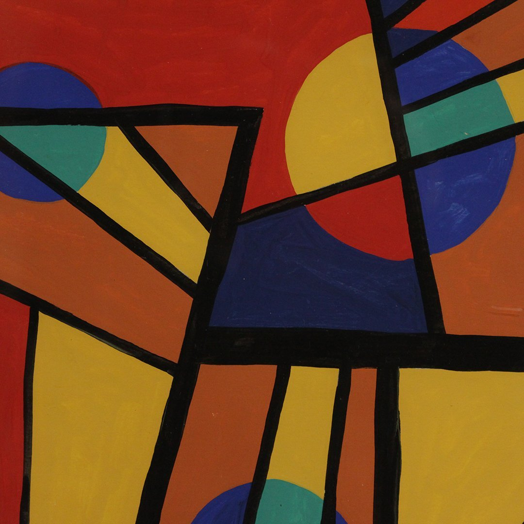 Emil Bisttram 1940, Abstract, Triangles, Lines, Circles - 2