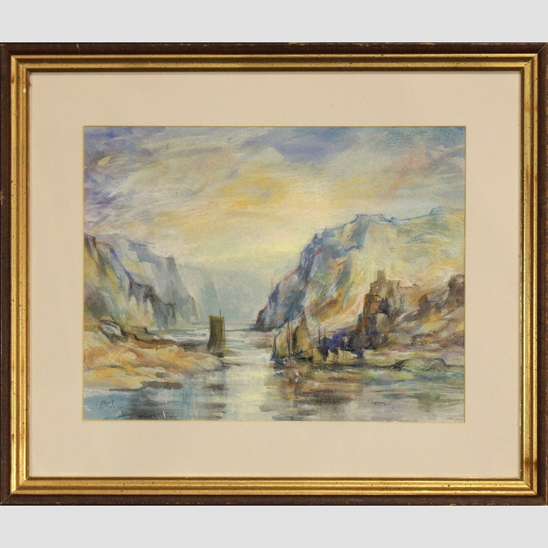 JMW Turner [attributed] Watercolor, Sailboat Rocky Cove