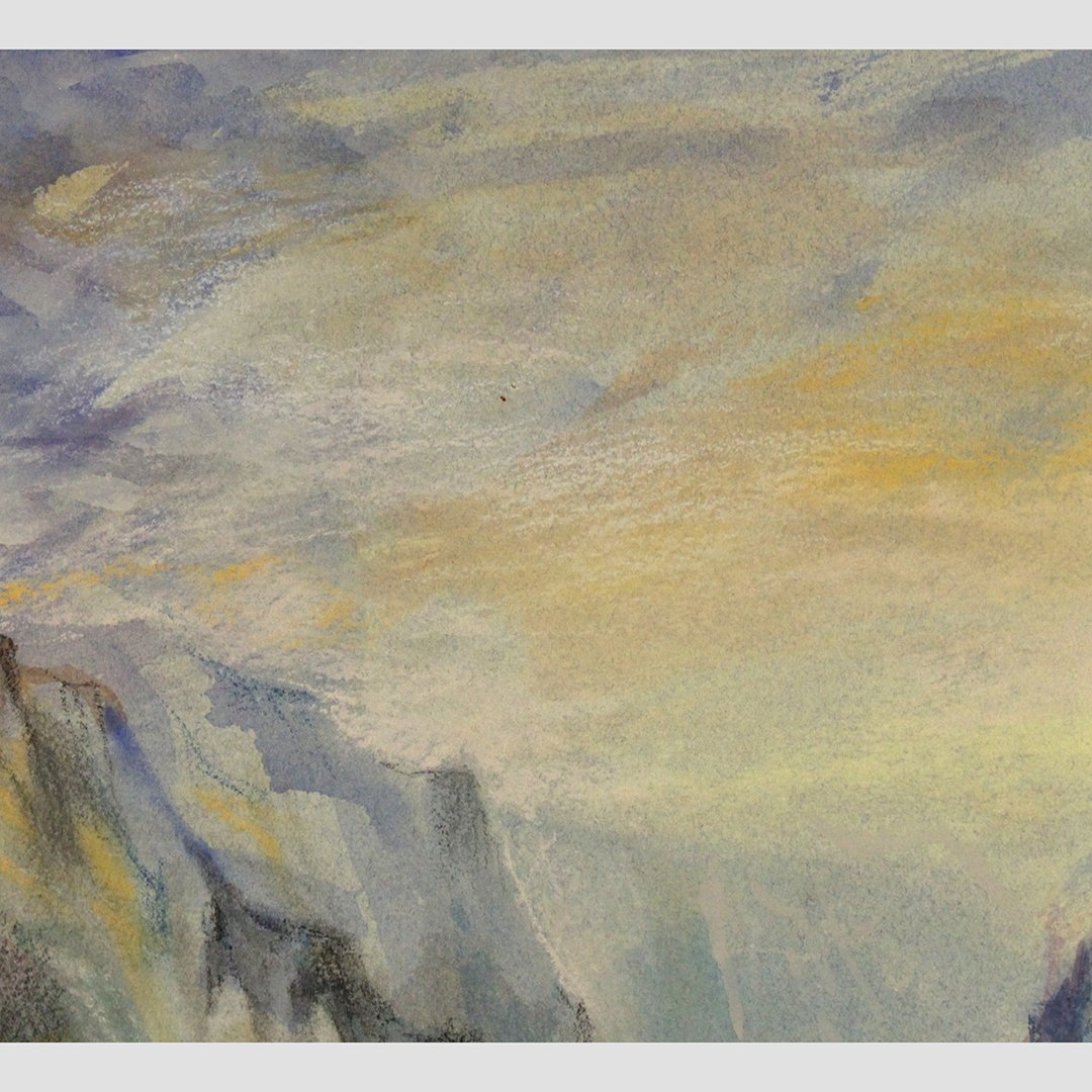 JMW Turner [attributed] Watercolor, Sailboat Rocky Cove - 2