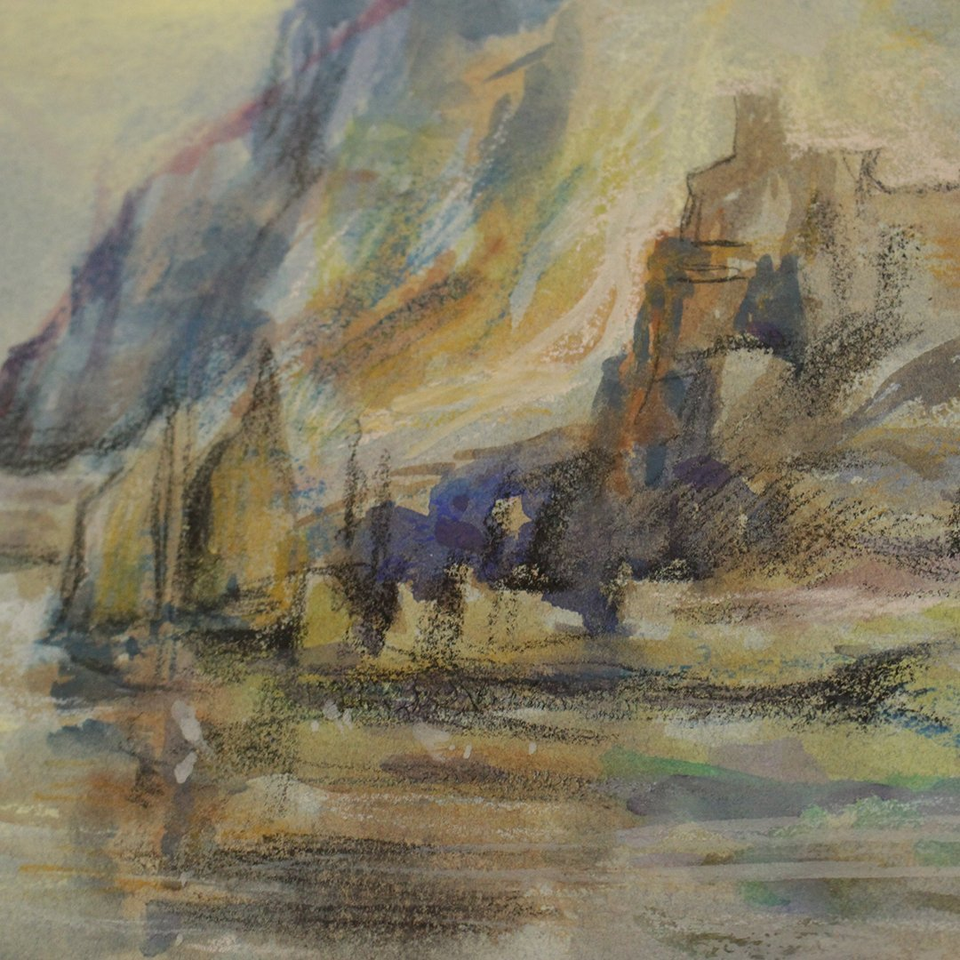 JMW Turner [attributed] Watercolor, Sailboat Rocky Cove - 5
