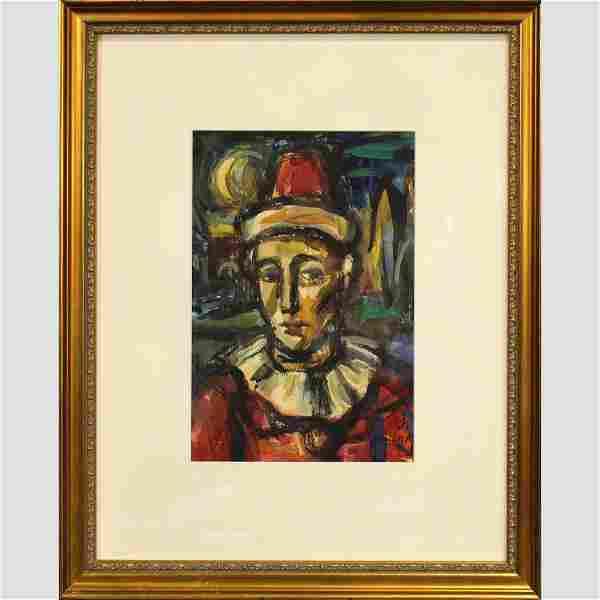 Georges Rouault, Gouache, Portrait of a Clown, Framed