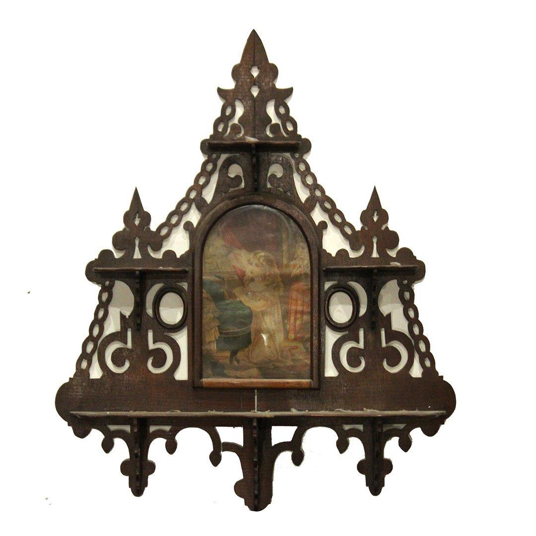 Ornate 1890s Walnut Victorian Hanging Nic-Nac Shelf