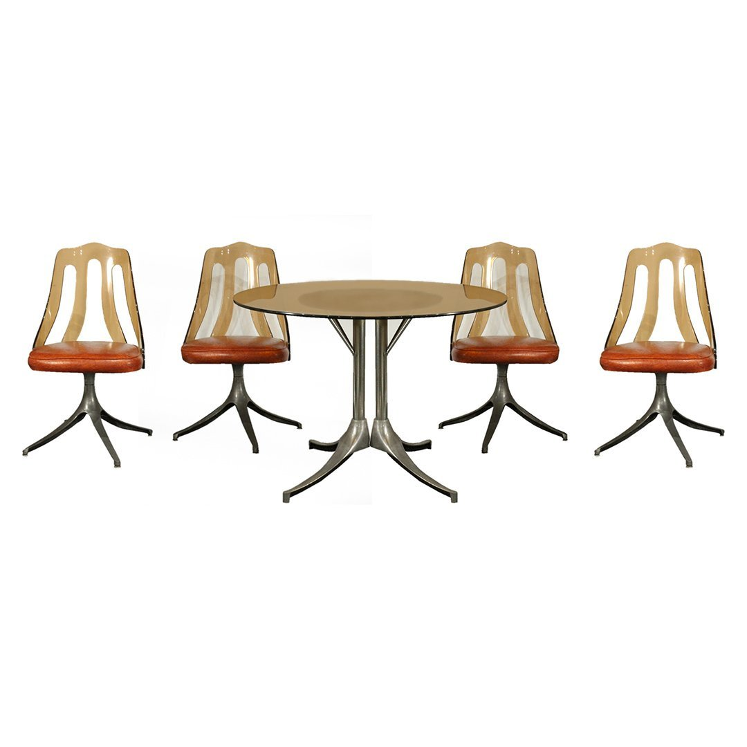 HOWELL 5-PIECE SMOKED LUCITE & GLASS TOP DINETTE SET