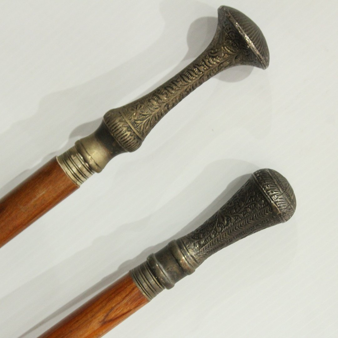 Two [2] Silver Plate Top Handle Walking Stick Canes