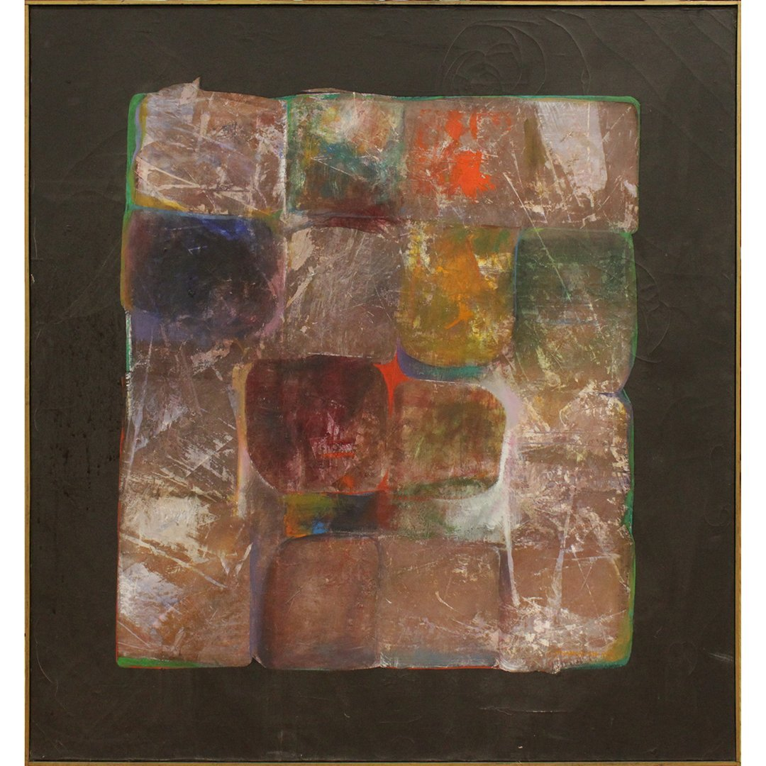 Large Mid-Century Modern Abstract Composition Oil/c