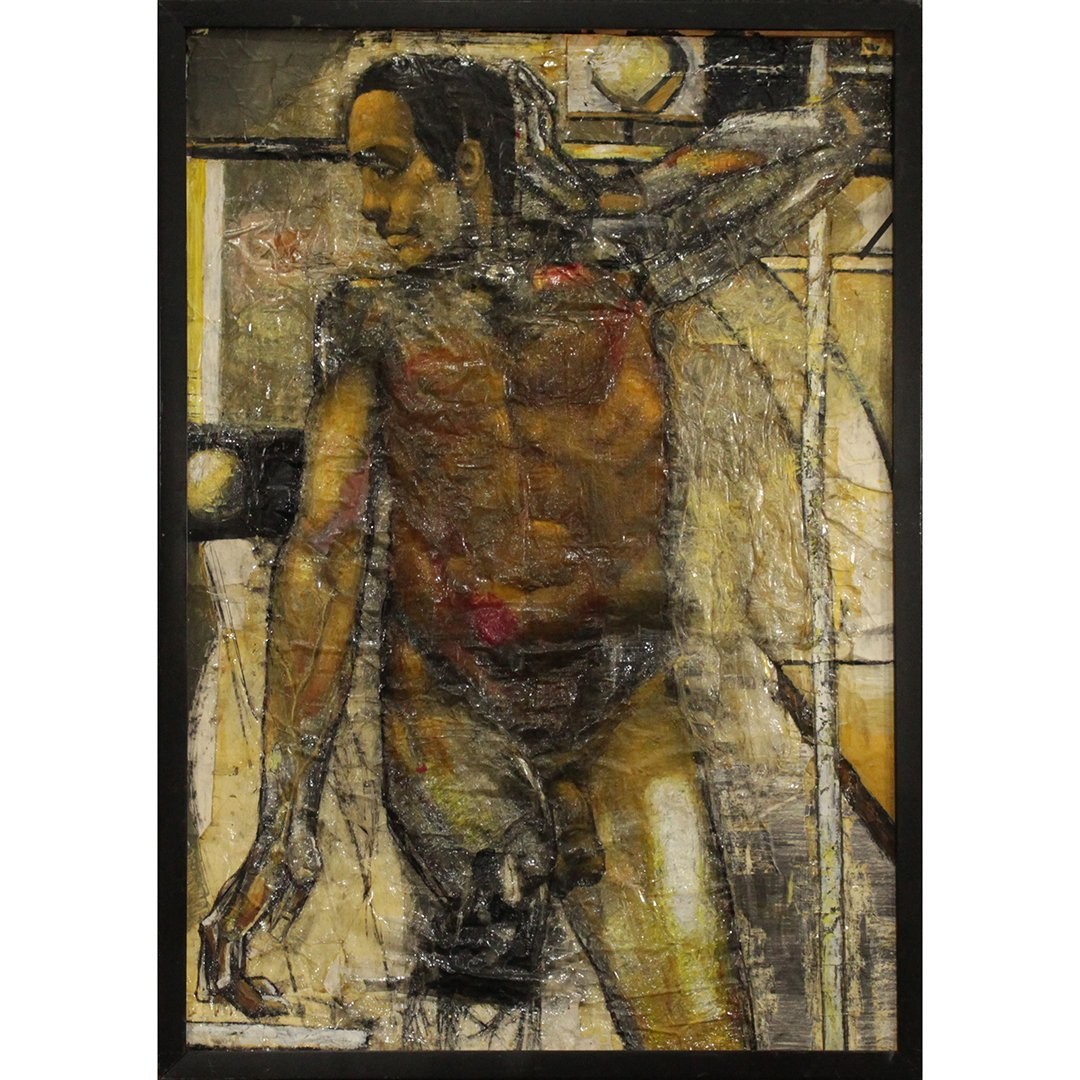 Nude Black Male  Gay Art Oil Painting on Paper