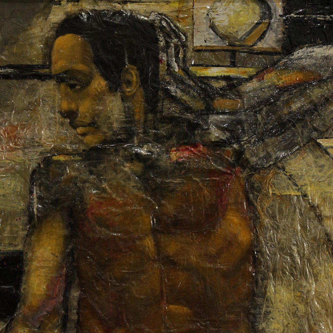 Nude Black Male  Gay Art Oil Painting on Paper - 2