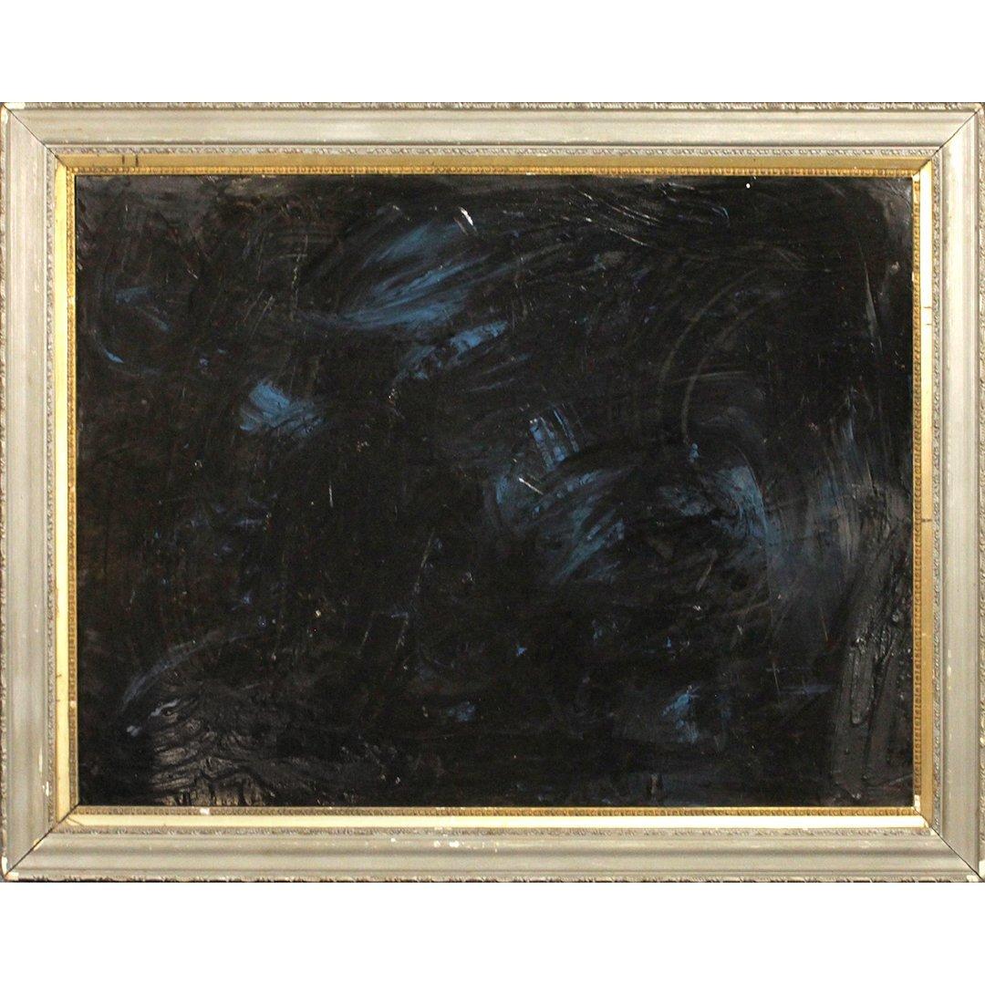 Mid-Century Modern Dark Abstract Blue & Black Oil/b