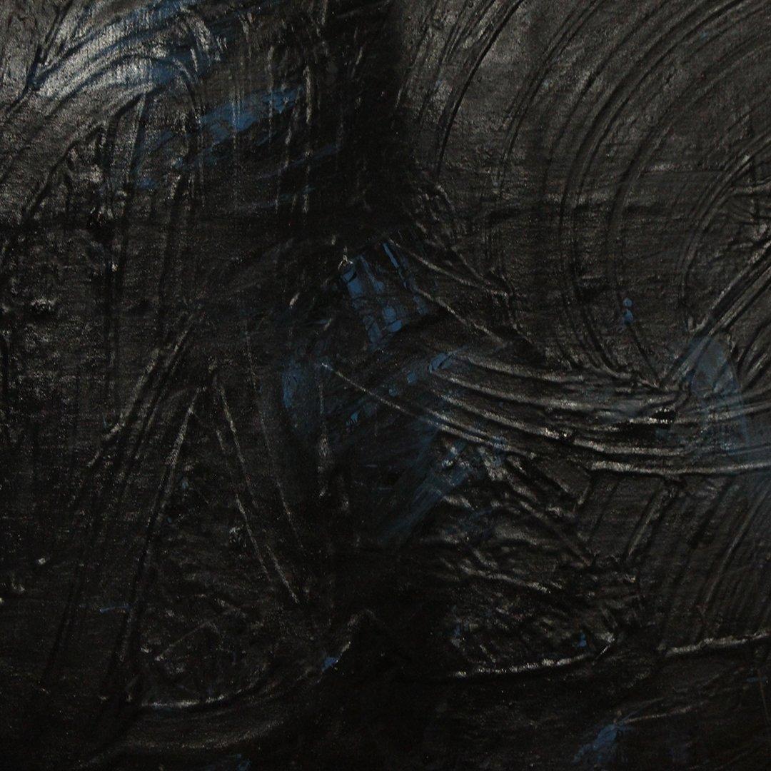 Mid-Century Modern Dark Abstract Blue & Black Oil/b - 2