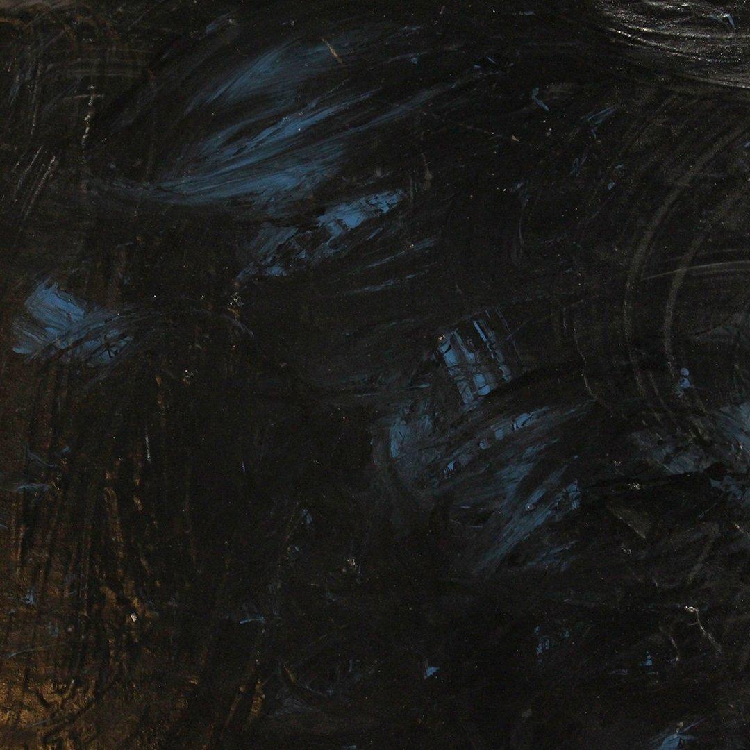 Mid-Century Modern Dark Abstract Blue & Black Oil/b - 3