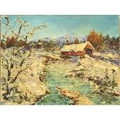 J McLean, Oil/c Vermont Landscape with Covered Bridge