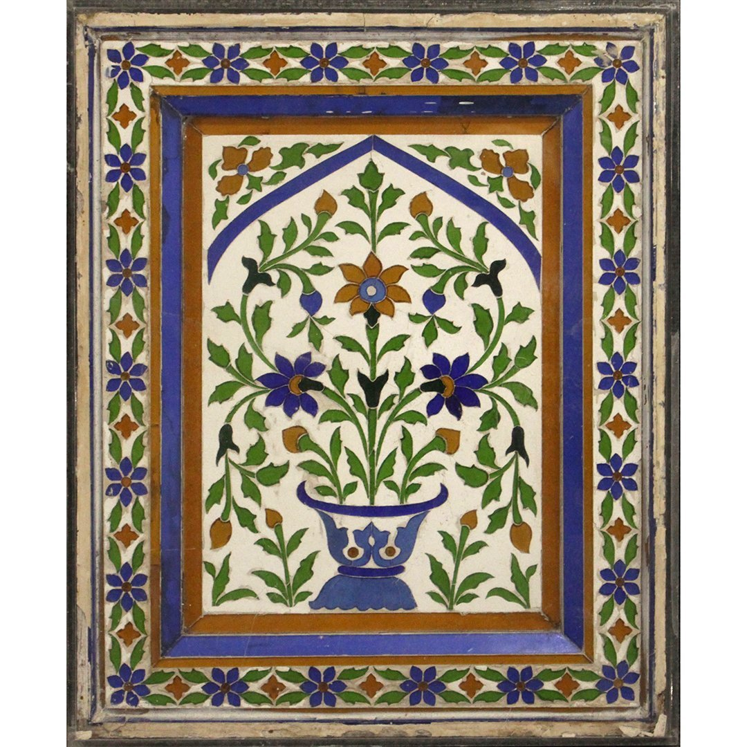 Large Antique Mosaic Tile in Frame Flowers in Plant Pot
