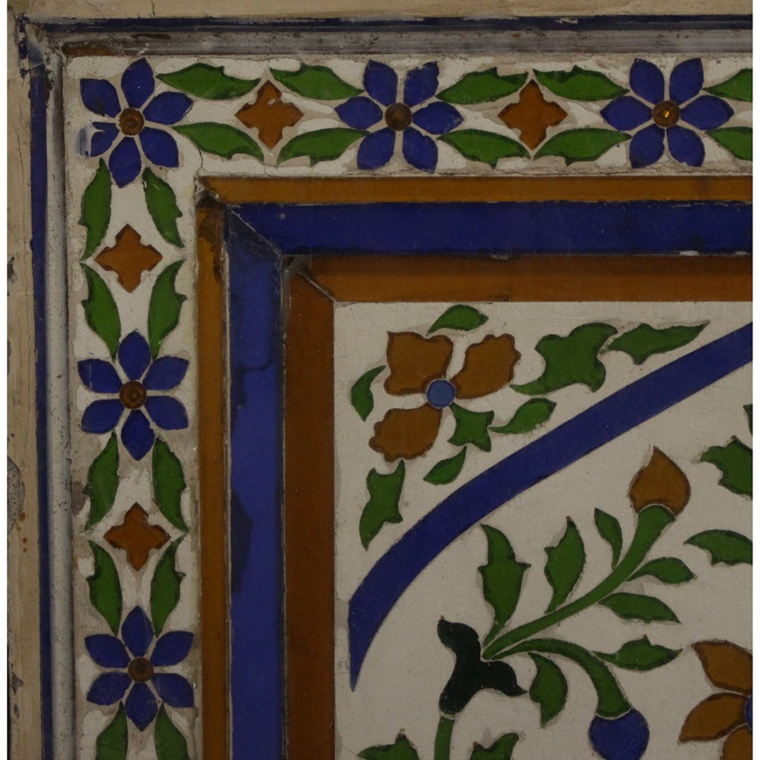 Large Antique Mosaic Tile in Frame Flowers in Plant Pot - 2