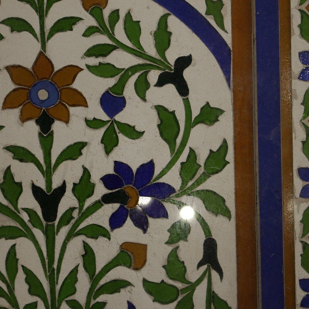 Large Antique Mosaic Tile in Frame Flowers in Plant Pot - 4