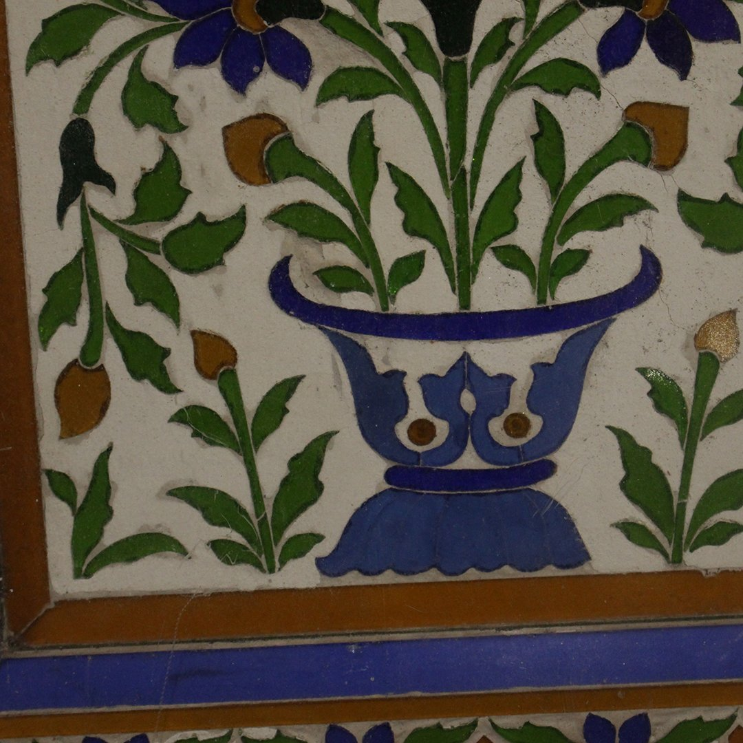 Large Antique Mosaic Tile in Frame Flowers in Plant Pot - 5