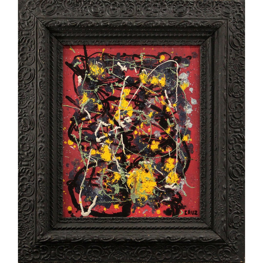 Cruz, Latin American Artist, Mid-Century Drip Abstract
