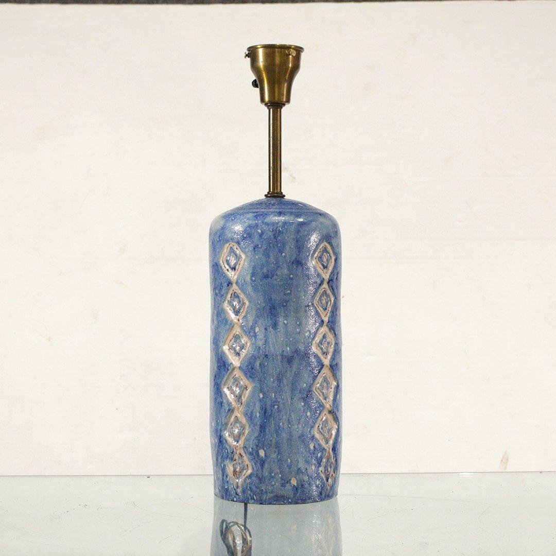 Mid-Century Modern Blue Art Pottery Table Lamp