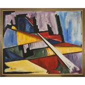 Stephen Kaye, Large Oil/c Abstract Mid-Century Modern