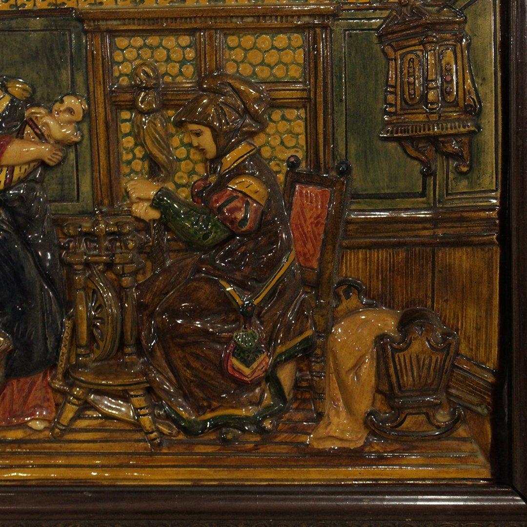 19th C. German Porcelain Relief Plaque Interior Scene - 3