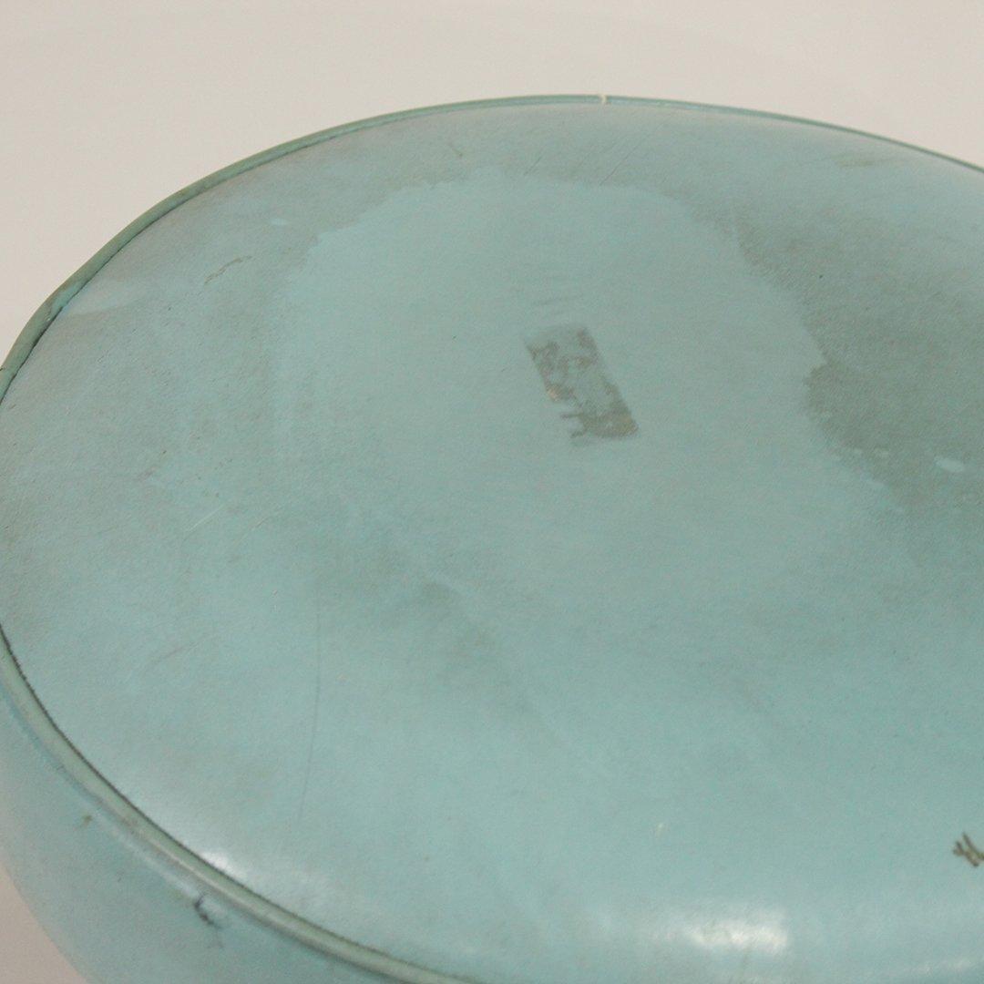 Mid-Century Modern Uniroyal Ottoman Turquoise Naugahyde - 2