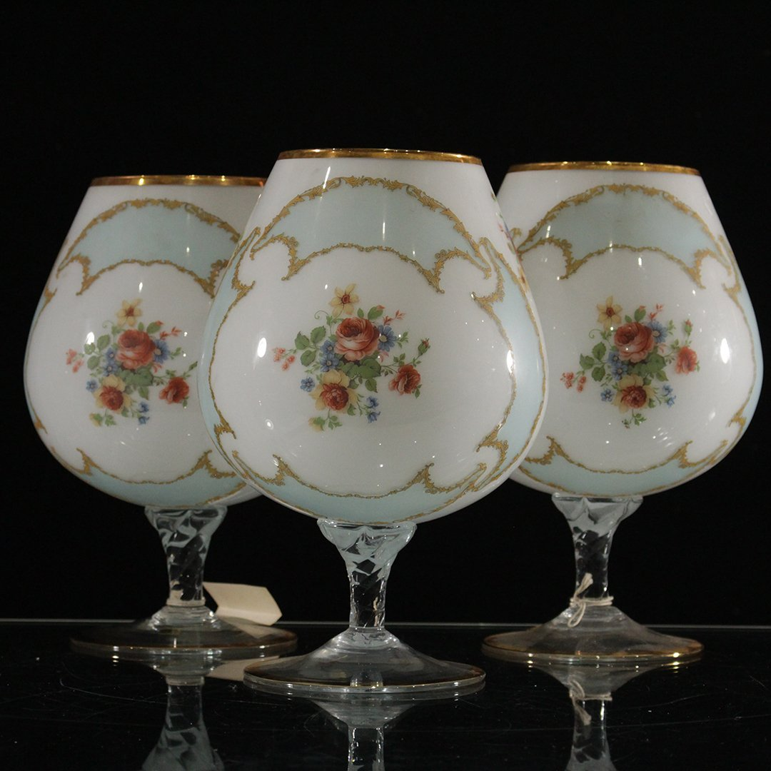 Three [3] Italian Glass Large Snifter / Chalices
