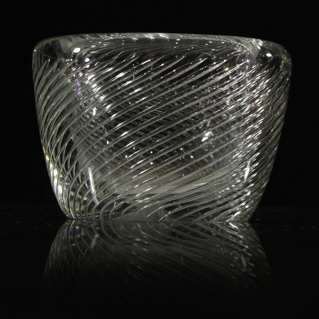 Kaj Franck Scandinavian Art Glass Swirl Bowl Signed