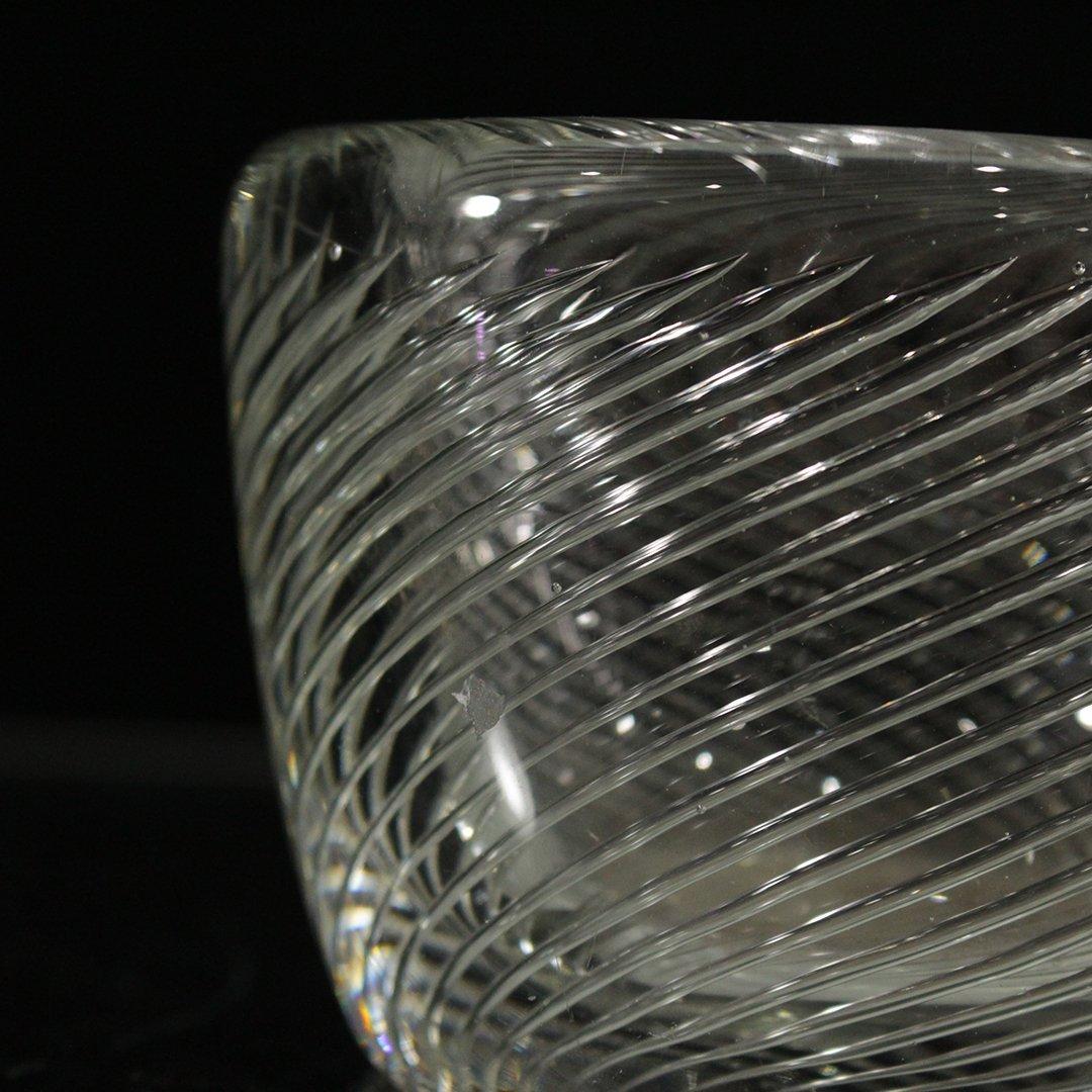 Kaj Franck Scandinavian Art Glass Swirl Bowl Signed - 2