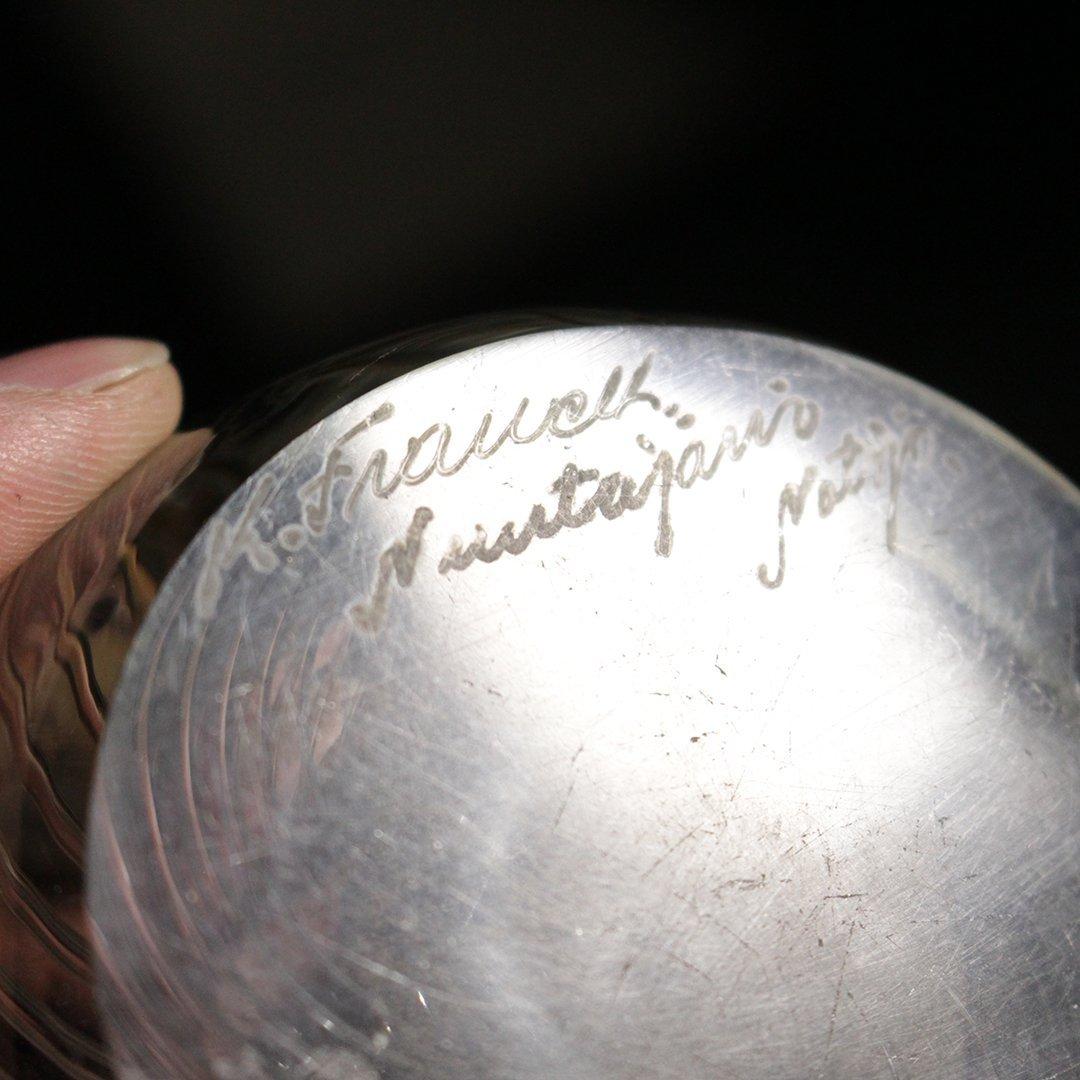 Kaj Franck Scandinavian Art Glass Swirl Bowl Signed - 3