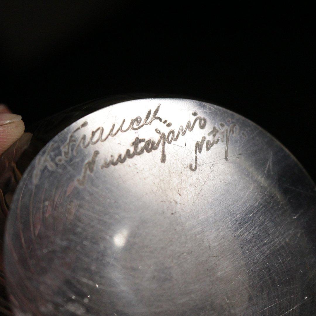 Kaj Franck Scandinavian Art Glass Swirl Bowl Signed - 4