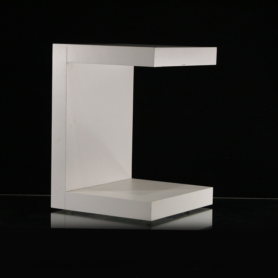 Mid-Century Modern White Formica Floating Stand